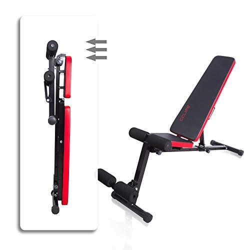 CCLIFE Banco de Musculación Multiposición Banco de Fitness o de Abdominales Ajustable,Plegable y Resistente a una Carga máxima de 600 kg, Color:Negro-020