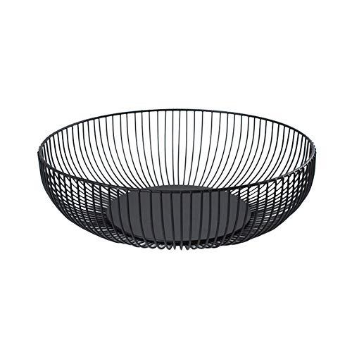 Demarkt - Cesta de metal para frutas o verduras, redonda, tamaño 28 x 7,5 x 15,5 cm, color negro