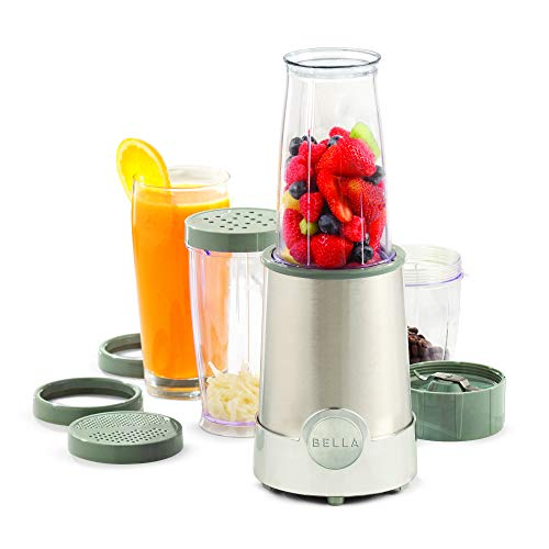 BELLA Personal Size Rocket Blender, Perfect for Smoothies, Shakes & Healthy Drinks, Easy Grinding, Chopping & Food Prep, 285 Watt Power Base, 12 Piece Blending Set, Stainless Steel