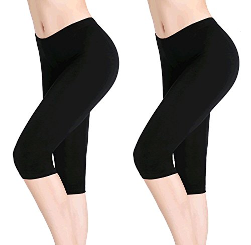 CnlanRow Damen Kurz Hose 3/4 Leggins Stretch Leicht Schwarz Shorts Yoga Leggings Sommer