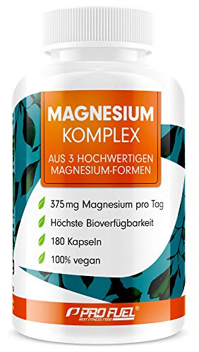 ProFuel Magnesium Komplex Kapseln, hochdosiert | mit 375 mg ELEMENTAREM Magnesium | Made in Germany, 100{7c73355601f34d938dd1d68e908d2b95f65c7281c74abb83f12d2b288ca2f375} Vegan | Magnesium-Bisglycinat, Magnesium-Malat & Magnesium-Citrat | 180 Kapseln (60 Tage)