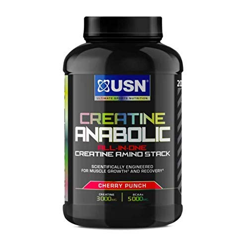 USN Creatine Anabolic all in One Creatine Amino Muscle Building Stack, Cherry, 900g