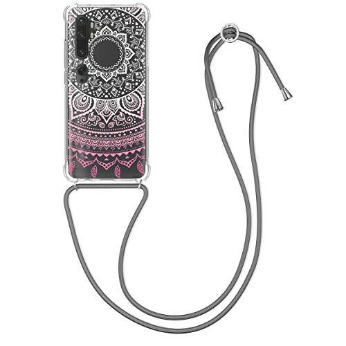 kwmobile Hülle kompatibel mit Xiaomi Mi Note 10 / Note 10 Pro - Silikon Handyhülle mit Kette - Rosa Weiß Transparent Hellgrau Indische Sonne