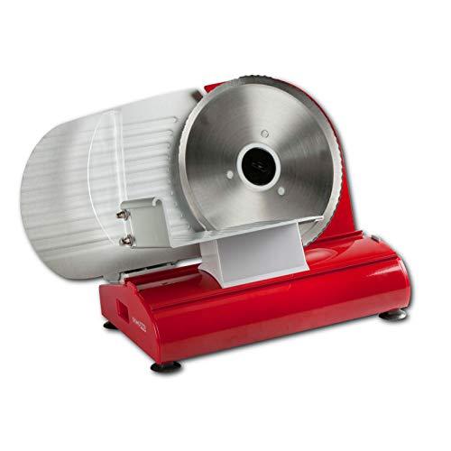 Metall-Brotschneidemaschine, Schneidemaschine in rot mit gezahnten Schneidemesser, 22cm Durchmesser