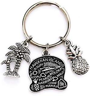 Hawaii Beach theme keychain Includes Hawaiian Islands Pineapple and Tropical Palm Tree Hawaii product image