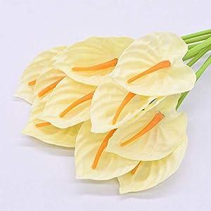 Artificial and Dried Flower 5/10pcs Anthurium Calla Lily Artificial Flowers Fake Bouquet Wedding Party Home Table Decor Supplies Scrapbook Crafts – ( Color: B03; Size: 10PCS )
