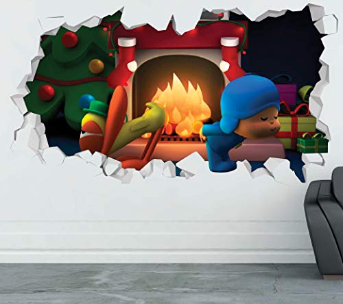 Pocoyo Christmas Fire Wall Decal Sticker - Kids Wall Decal Decor - Art 3D Vinyl Wall Decal - GS285 (Medium (Wide 30' x 16' Height))