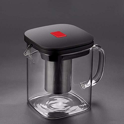 1100 ml roestvrij staal hittebestendig vierkant glas teapot, kan worden verwarmd door inductie kookplaat en gasstof.