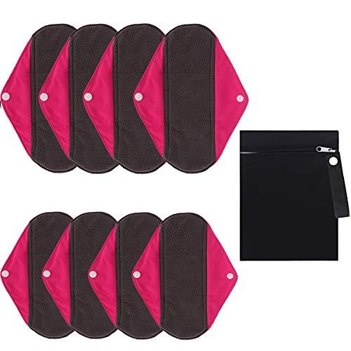 Slipeinlagen Waschbar Bio, MYSWEETY 8 Stück Wiederverwendbare Baumwolle Damenbinden Pads mit Flügeln/Menstruation Tuch für Frauen, mit Holzkohle Absorbency Schicht zu vermeiden Lecks, Rosa