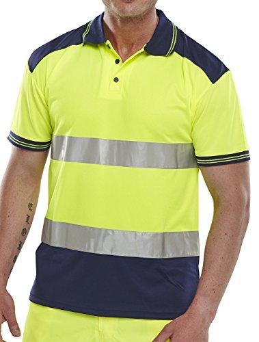 B Seen Short Sleeve Polo Shirt 2Tone Sat/Yellow&Navy Hi-Vis - XXXL