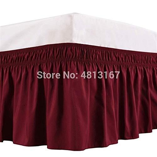 Delantal Cama elástica eliminación de Polvo de Hoja de Loto Falda de Cama Color sólido de Arrugas Anti-Fading 38cm Manera clásica FaldóN Volantes (Color : Wine Red, Size : Queen)
