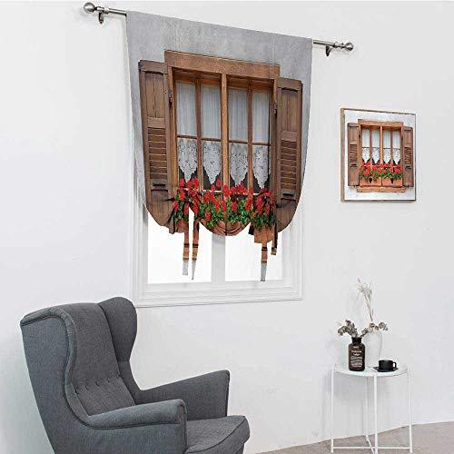 GugeABC Cortinas para puerta de patio, impresión de ventanas antiguas europeas con persianas y macetas de flores en rurales bohemio, sombra de globo, marrón, blanco y rojo, 76,2 x 162,6 cm