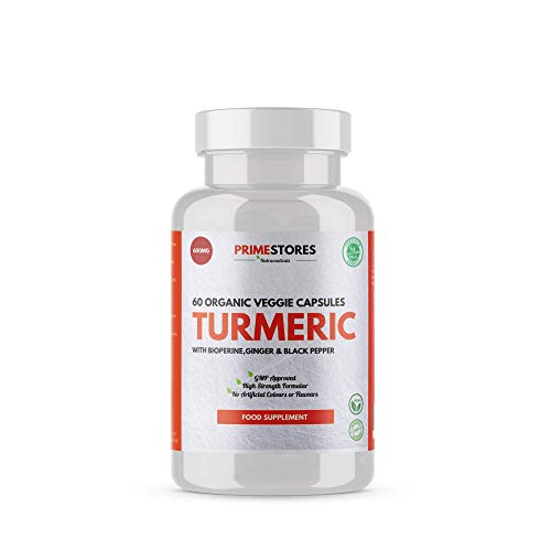 Turmeric Curcumin Black Pepper Bioperine Tablets 600mg - 60 Organic Veggie Capsules - High Strength Joint Pain Supplement Pills by Primestores