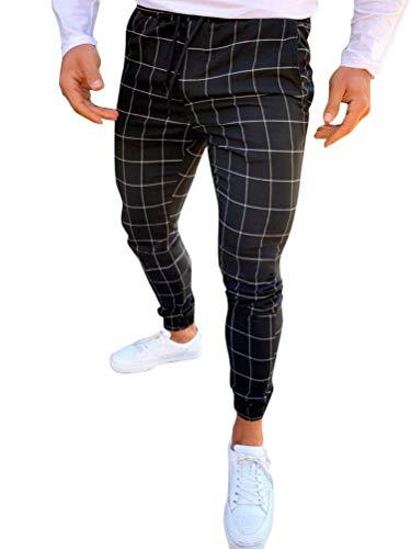Tomwell Pantalón para Hombre Chino Casual Jogging Slim Fit Largos Deportivos Jogger Pants Impresión a Cuadros Trouser Primavera y Verano (XS, Negro)