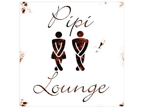 Interluxe 20x20cm Shabby METALLSCHILD Blechschild Dekoschild PIPI Lounge Toilette WC Gäste