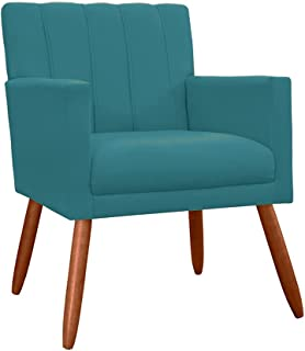 Poltrona Decorativa Para Sala Recepção Cecília Suede Azul Turquesa - DL DECOR