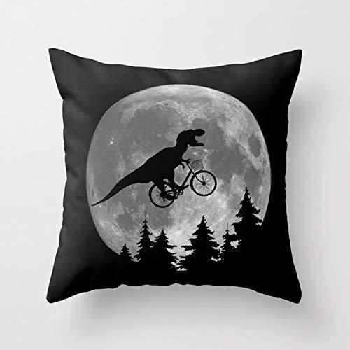 Kissenbezug 45,7 x 45,7 cm, dekorativer Kissenbezug für Urlaub, Dekoration, Zuhause, Sofa, Wohnzimmer, Auto, Dekoration Modern 18*18 Inch Biker T Rex in Sky With Moon 80s Parody