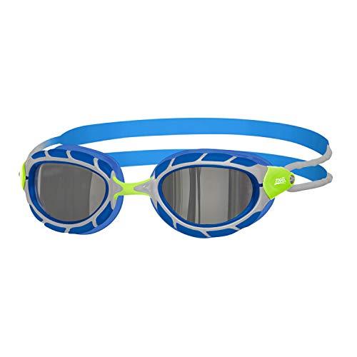 Zoggs Predator Mirror Junior, Occhialini da Nuoto Gioventù Unisex, Verde/Blu/Specchio, 6-14 Anni