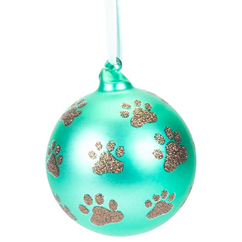 Dog Paw Teal Glitter 4 inch Glass Christmas Decorative Hanging Ornament