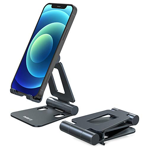 Nulaxy Phone Stand, Fully Foldable, Adjustable Desktop Phone Holder Cradle Dock - Grey