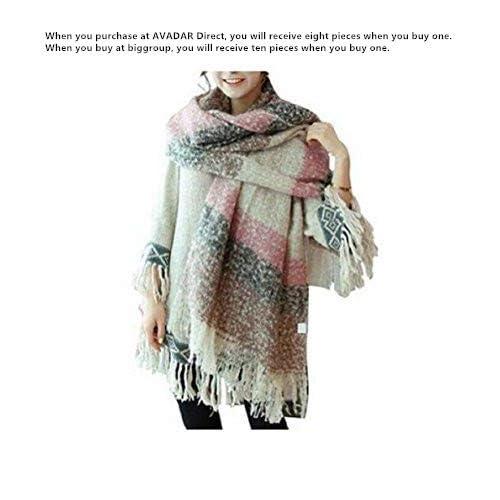Grand châle Weibestshop confortable pour femme - Plaid, pashmina, écharpe - Motif à carreaux