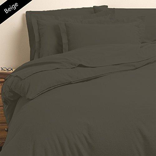 Noble Comfort Linen Parure de lit 6 pièces Beige 100% Coton égyptien 63,5 cm de Profondeur Poche 1000 Fils au Pouce carré