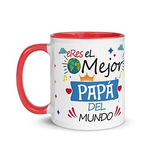 Kembilove Taza de Café Eres el Mejor Papá del Mundo – Taza de Desayuno para Regalar el día del Padre – Tazas de Café y Té para Papá – Taza de Cerámica con el Interior Color Rojo de 350 ml