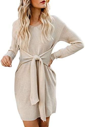 Happy Sailed Women Knotted Sweater Dress Long Sleeves Tie Waist Knitted Autumn Winter Sweater product image