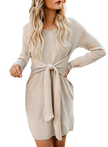 100%Acrylic, sweater shift dress is soft and comfy to wear. Features: V neck, Long sleeve, Batwing sleeves, Above Knee Length, Front Waist Tie, Solid Color, Mini Shift Dress. Sweater bodycon dress comes self-tie belt at front, which can show off your...