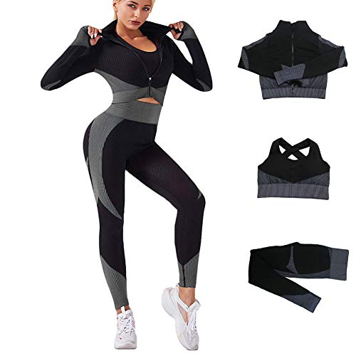 Veriliss 3 Piezas Mujer Yoga Traje Entrenamiento Para, Gym Mallas de Yoga Sin Costuras y Sujetador Deportivo Elástico Ropa de Gimnasio (NegroGris, S)