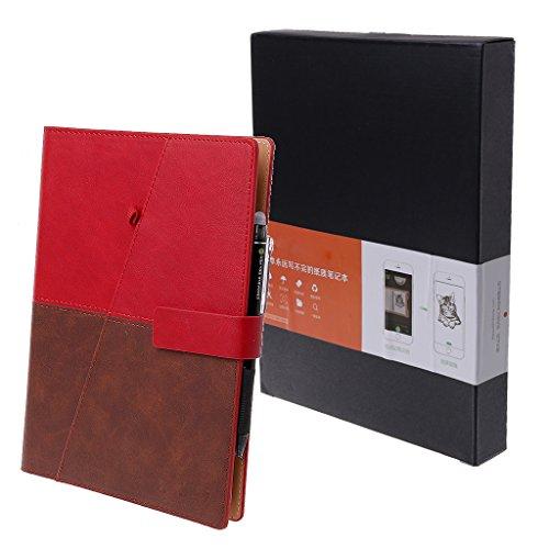 Joocyee - Cuaderno A5 borrable con Dibujo, de Cuero, Reutilizable, Inteligente, para Regalo de la Oficina de la Escuela, Cuaderno Inteligente con Escritura repetible, Rojo/Azul/Negro/marrón