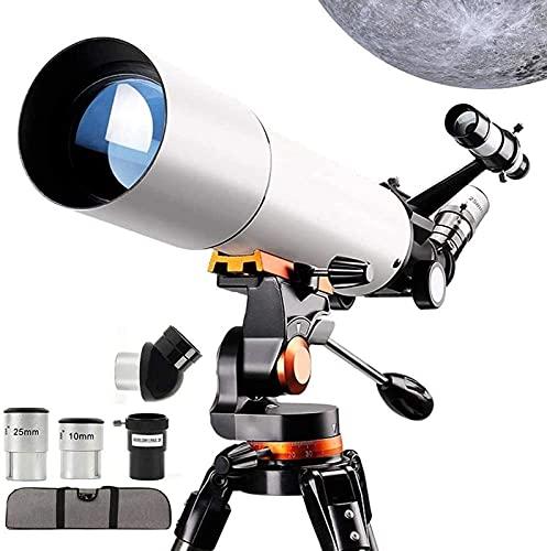 GWDFSU Telescopio para principiantes, 80 mm, telescopios refractarios astronómicos de altura ajustable, trípode de montaje de filtro 3X lente Barlow paisaje natural
