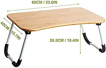 avec fente ZHU Chuang Plateau de table multifonction pour petit d/éjeuner avec pieds pliables Couleur naturelle 100 /% bambou massif