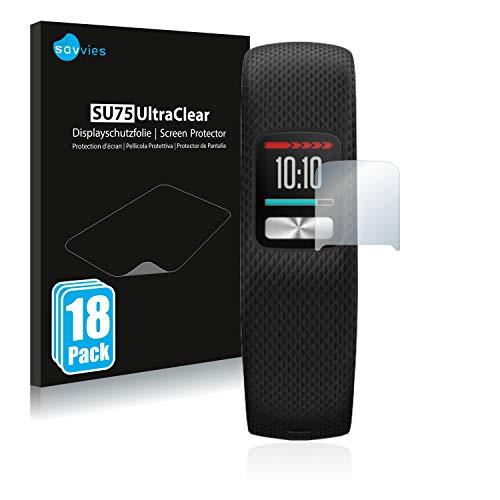Savvies 18x Schutzfolie kompatibel mit Garmin Vivofit 4 Bildschirmschutz-Folie Ultra-transparent