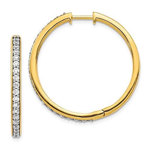 Pendientes de aro de oro amarillo de 14 quilates de 31 mm para mujer
