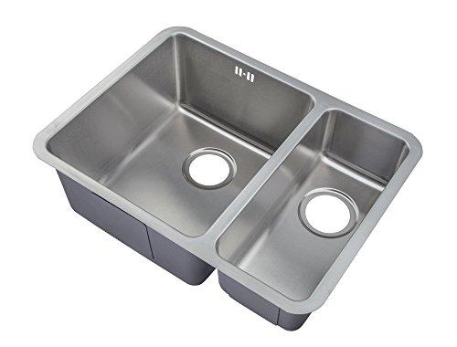 1,5 lavello da cucina da incasso con lavandino in acciaio inox spazzolato. orientato verso sinistra (D03 L GTDE)