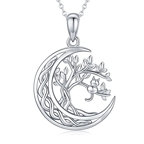 Eusense Tree of Life Necklace for Women, Sterling Silver Celtic Knot Moon Cat Pendant Necklace, Jewelry Gift for Women Girls