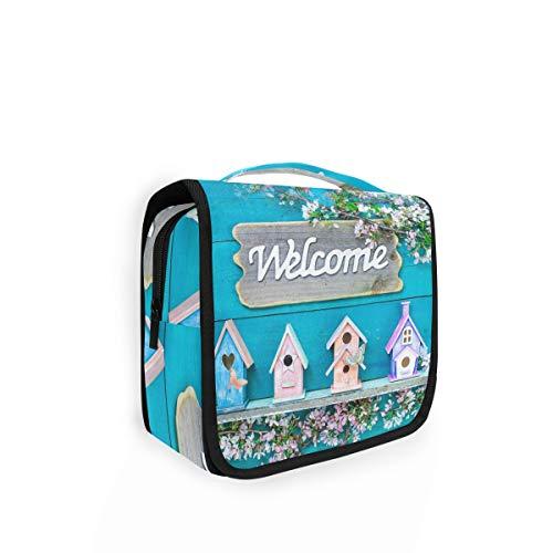 Trousse de toilette à suspendre Rulyy - En bois - Avec fleurs - Grande capacité - Pour les voyages - Pour femmes et filles
