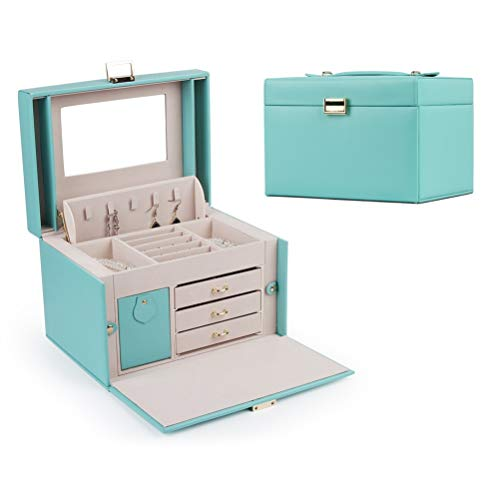 DerBlue Jewelry Box Jewelry case Jewelry Organizer Box for Women Large Functional Faux Leather Jewelry Organizer Huge Jewelry Storage Case Tiffany Blue