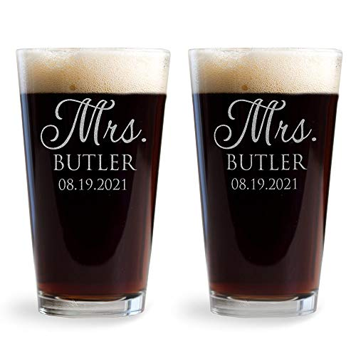 Lifetime Creations Pair  Engraved Personalized Mrs. & Mrs. Pint Glasses