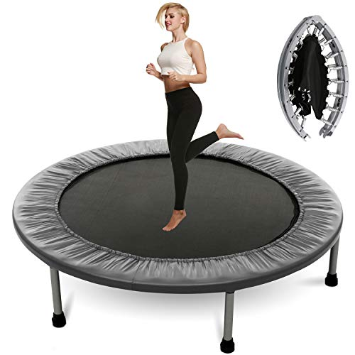 Plohee Portable & Foldable Fitness Workout Mini Rebounder Trampoline 40 Inch for Indoor Garden Workout Cardio Exercise (Color1)