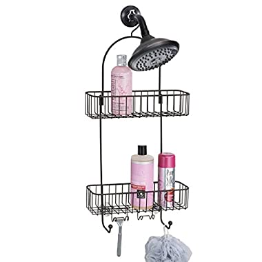 mDesign Bathroom 2-Tier Shower Caddy with Hooks for Shampoo, Conditioner, Soap, Razor - Bronze