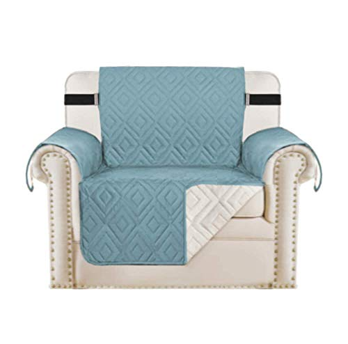 H.Versailtex Sofa Protectors Waterproof Chair Covers from Pets/Dogs/Kids, Armchair Covers Furniture Protector Slipcovers Quilted, Non Slip with Strap, 1 Seater, Reversible Citadel/Beige
