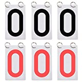 TOPTIE 6 Sets Numbered Score Board Cards 3-1/8 x 5-1/2 Inches Portable 0-9 Flip Scorekeeper-Black/Red