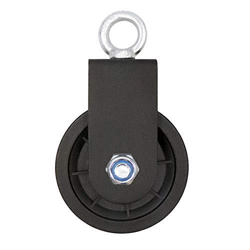 LFJ Bloque de Polea Giratoria de única, Poleas Tendedero para Cuerda Cables Rueda de elevación del rodillo Sistema de polea de gimnasio con soporte de montaje en U, 1PC