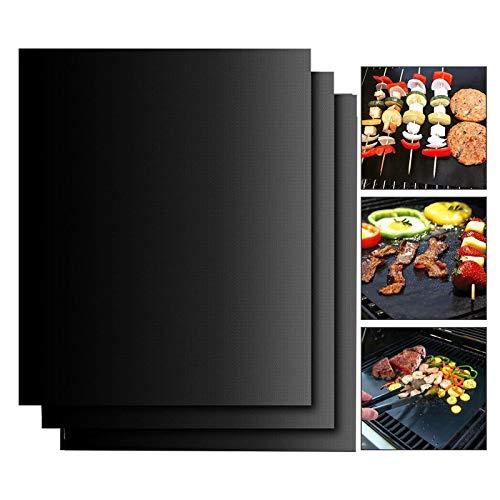 EXTSUD BBQ Grillmatten, 3er Set BBQ Antihaft Grill-und Backmatte 40x50 cm Wiederverwendbar PFOA-Frei - Toll über Kohle, Gas und Weber Style Grills - Perfekt für Fleisch, Fisch und Gemüse MEHRWEG