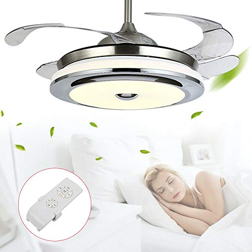 42 Inch F0233 Tricolor Remote Control Fan Light Silver (Without Bluetooth), LED Ceiling Fan Lamp Chandelier Dimmable for Light Living Room Control Retractable Fans Invisible Best Bed Model Color