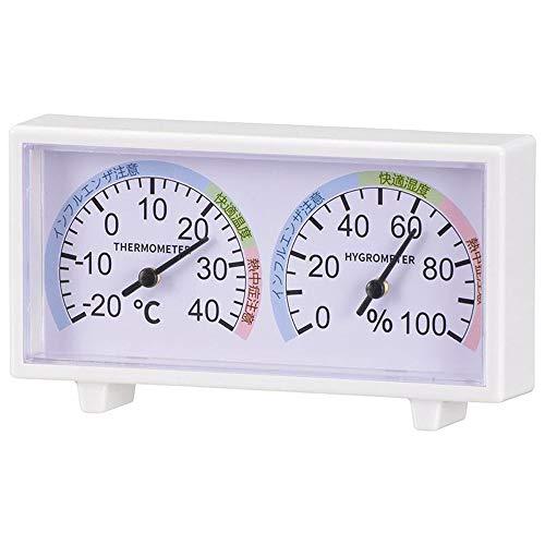 オーム電機 湿度計 ホワイト 幅13.4×高さ7.4×奥行2.6cm