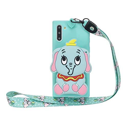 Miagon Silikon Hülle für Samsung Galaxy Note 10,3D Süß Brieftasche Lager Tasche Design mit Halskette Kordel Schnur Handykette Necklace Band,Blau Elefant
