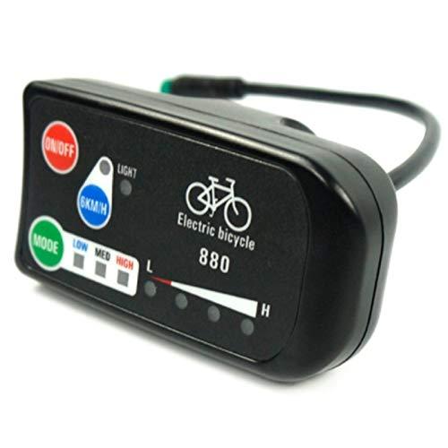 Varadyle Pantalla de Bicicleta EléCtrica 24V 36V 48V Ebike Ligent Panel de Control Pantalla LCD LED880 Controlador Impermeable para KT